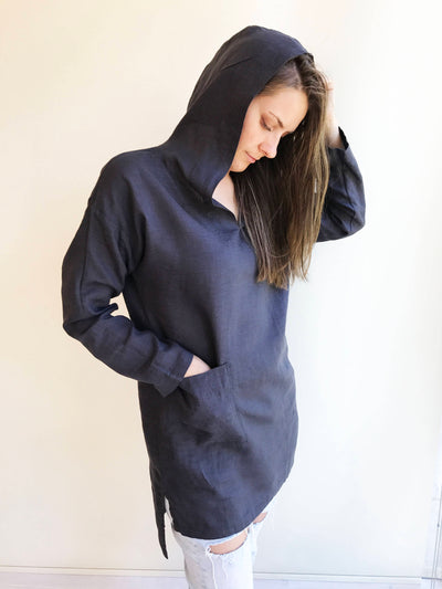 Ready to Ship Size L Tunic with a hood, Linen Tunic Top, Hooded Top, Beach Dress, Cover up, Womens Shirt, Loose Hooded Shirt Women Linen