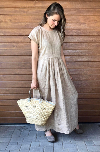 Linen Maxi Dress, Long linen dress, plus size maxi dress with sleeves, summer beach dress, plus size dress, maxi linen dress dress for women