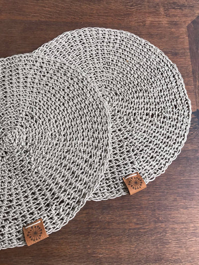 Round Linen placemats, Rustic Placemats, Circle Placemats, Country Placemats, Natural Placemats, Crochet Placemats, Natural linen placemats