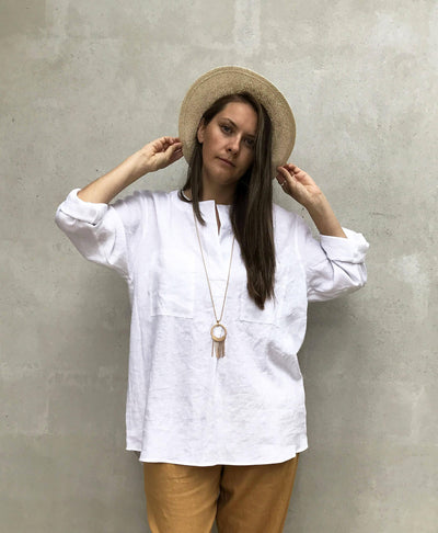 "Loose Womens Shirt ""Dina"", Linen Shirt, plus size shirt, Tunic Shirt, boyfriend shirt, summer shirt, light shirt, boho shirt, Linen Top"