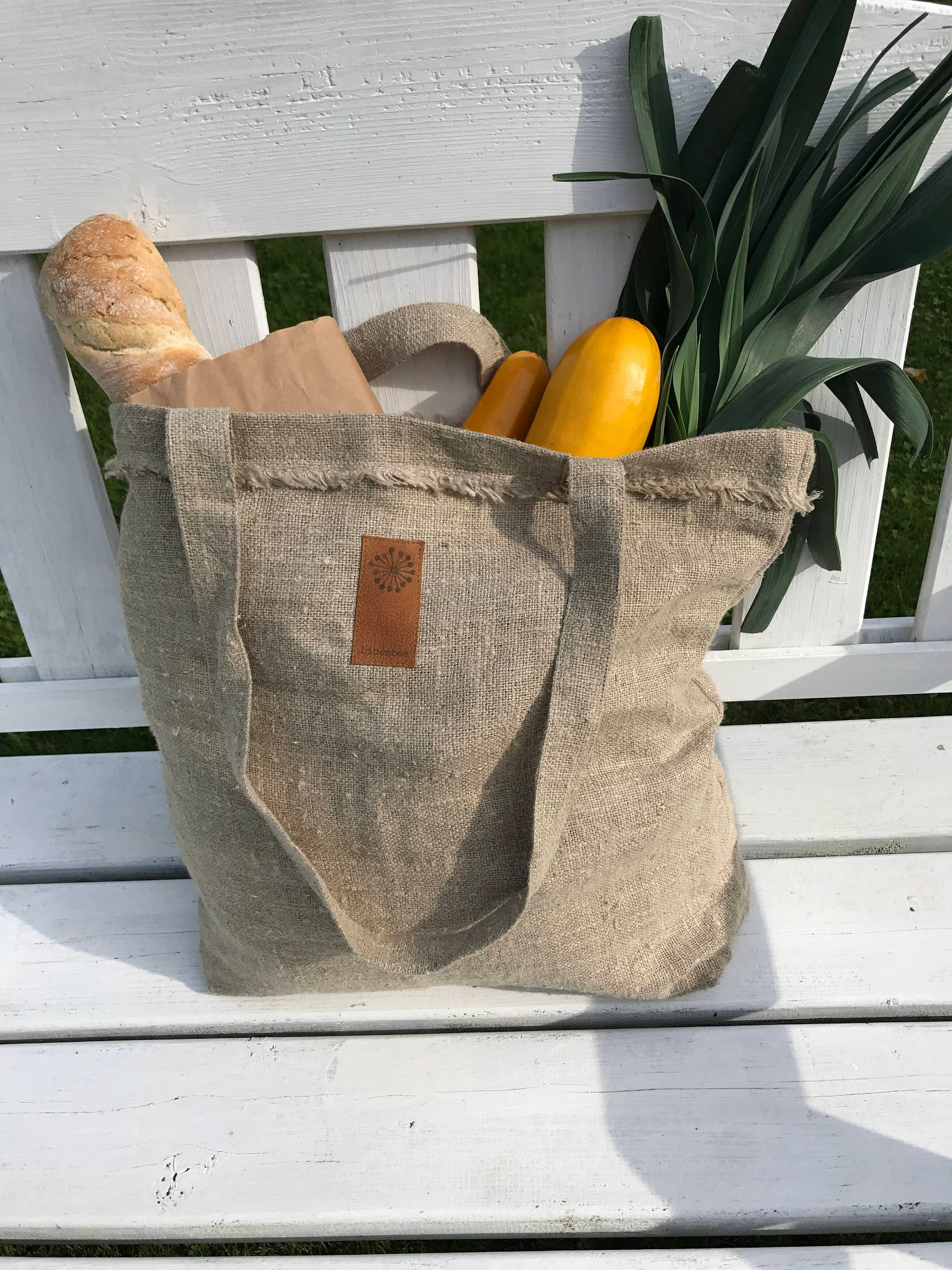 Burlap Shopping Bag, Rustic Linen Tote Bag, Natural Linen Canvas Tote Bag, Linen Handbag, Fabric Handbag, Shoulder bag, Grey Brown Handbag