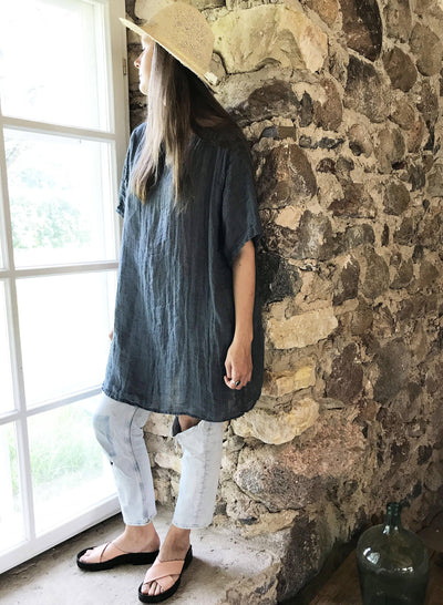 Loose Linen Tunic Top 'Helen', Gauzy Lightweight Coverup, Gauzy Linen Top, Gauze Top, Beach Cover Up, Plus size cover up Plus Size Tunic Top