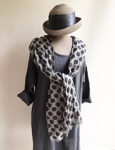 Polka Dot Scarf from Pure Linen, Grey Linen Scarf, Black Linen Scarf, Wraps Shawl, Womens Scarf, Gift for Her, scarf black, summer scarf dot