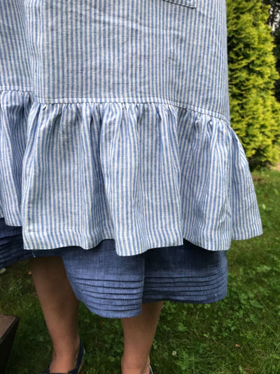 Linen Pinafore Apron With Ruffle, Striped Pinafore Apron Woman, Square-Cross Apron, no-ties apron, Japanese apron, linen smock, Apron dress