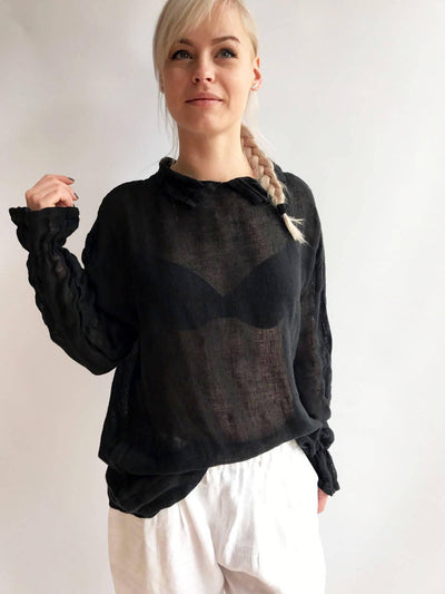 Black Gauze Top with Ruffled Cuffs, Linen Blouses For Women, Light Blouse Women, Black Blouse, White Blouse, Gauze Blouse, Gauzy Linen Top