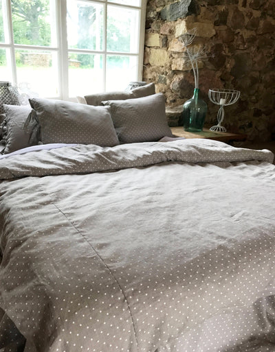 Linen duvet cover, polka dot linen bedding, natural duvet cover queen, king, twin custom natural 100% pure linen by Linenbee polka dot cover