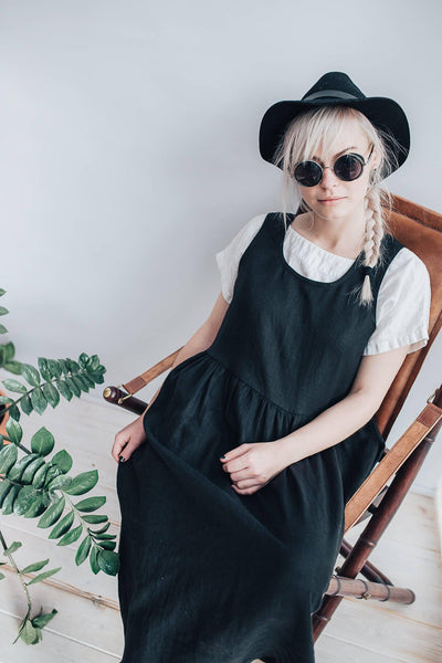 Linen Pinafore Dress, Black Linen Sundress, Sleeveless Dress, Plus Size Sundress, Linen Dress Women Jumper dress, Pinafore Maxi Dress Black