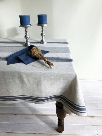 Linen tablecloth, French country dark blue striped table cloth, square tablecloth, rectangle oval rustic table, country tablecloth, linen