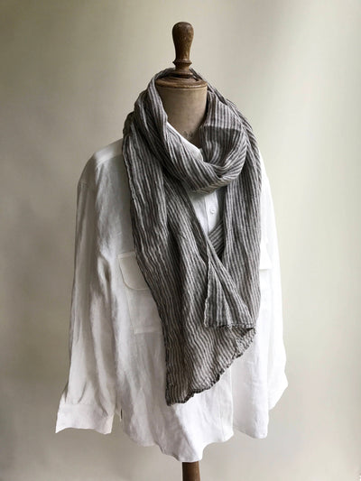 Gauzy Linen Scarf Striped, Striped Linen Scarf, Gauze Scarf for Her, Pure Linen Scarf, Taupe Scarf, Grey Scarf, Black Striped Gift for Him