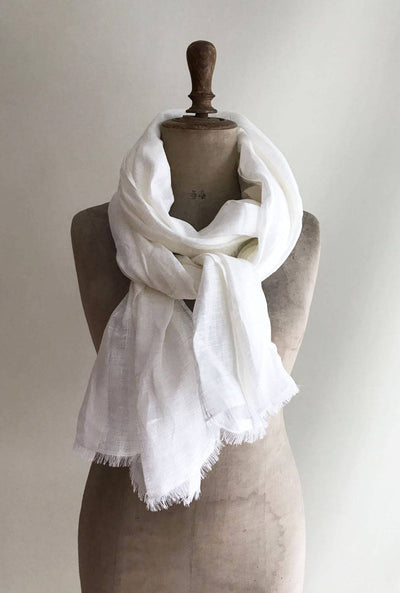 Light White Linen Scarf Soft Linen Shawl for Men or Women, Husband gift, Mothers gift, Mothers day gift, natural linen, White Scarf Linen