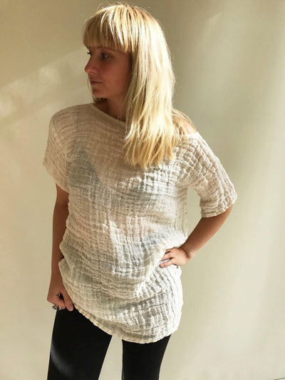Gauze Linen Top in Creamy Off White , Boho Womens Top, Vacation Top Coverup, Tunic top, Linen Shirt Women, Plus size top Shirt Natural Eco