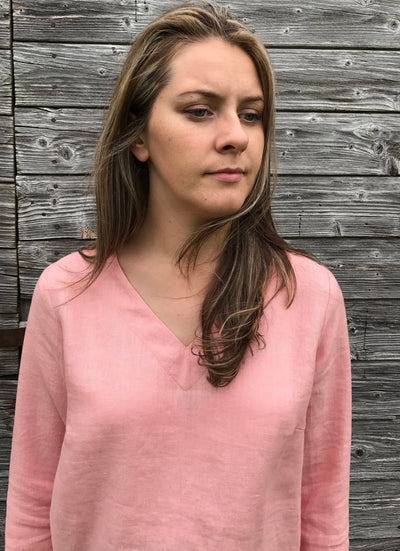 Linen Tunic Top with Long Sleeves, V Neck Top, Linen Top Long Sleeved, Pink Top, Plus size shirt, Plus size top, Linen Shirt with Sleeves
