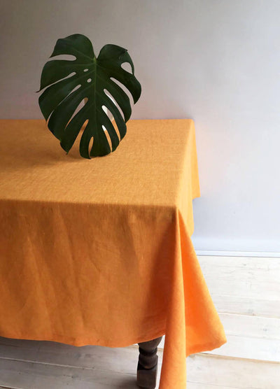 Orange Linen Table Cloth, Sunny Linen Tablecloth Rectangle, Tablecloth Square, Tablecloth linen, Custom Tablecloth, Thanksgiving Tablecloth