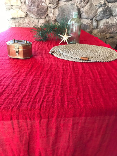 Christmas Red Linen Table Cloth, Red Linen Tablecloth Rectangle, Tablecloth Square, Tablecloth linen, Custom Tablecloth, Red Tablecloth