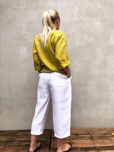 Cropped Linen Pants, Linen Trousers, Womens Pants cropped, Womens Trousers, Beach Pants, White trousers, Pants for Women, Plus Size Pants