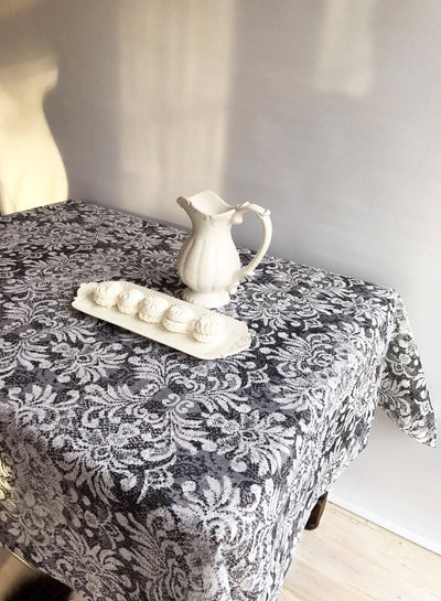 Black Linen tablecloth with printed lace patterns, Silver grey linen tablecloth, rectangle tablecloth, linen table, luxurious patterns