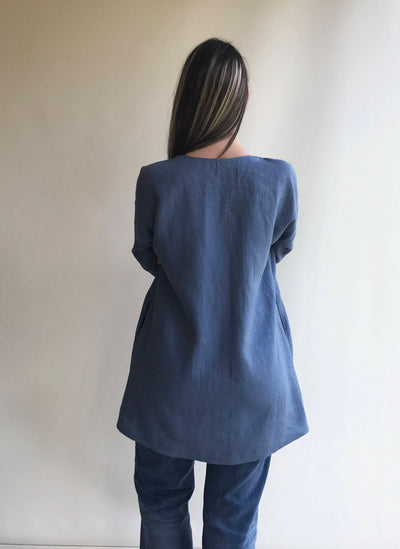 Blue Linen Tunic Dress with Long Sleeves Size M