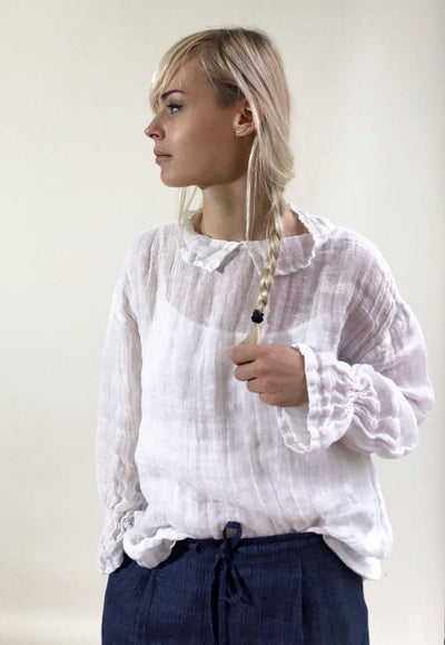 White Gauze Top with Ruffled Cuffs, Linen Blouses For Women, Light Blouse Women, Black Blouse, White Blouse, Gauze Blouse, Gauzy Linen Top