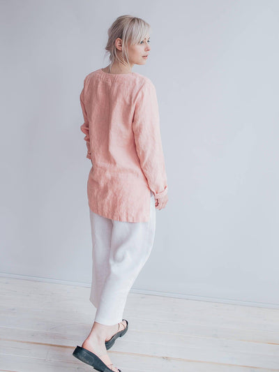 Pink Linen Tunic Top with Long Sleeves, V Neck Top, Linen Top Long Sleeved, Plus size shirt, Plus size top, Linen Shirt with Sleeves