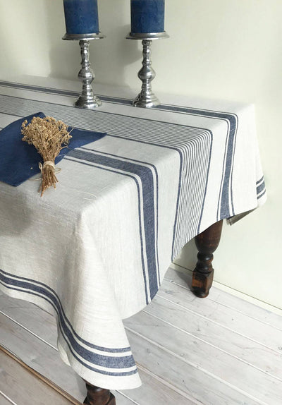 Linen tablecloth, French country bright blue striped table cloth, square tablecloth, rectangle oval rustic table, country tablecloth, linen
