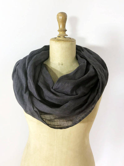 Linen Infinity Scarf from Charcoal Grey, Pure Linen Wrap Shawl, Light Infinity Scarf Grey, Infinity Scarf for Women, Grey Linen Scarf