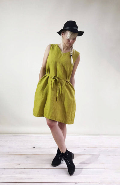 Sleeveless Linen Dress with V neckline, Sleeveless Midi Dress, Pinafore Dress, Linen Midi Dress, Linen Dress Women, Light Summer Dress Plus