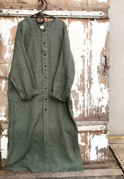 Buttoned Linen Kaftan, Kaftan Robe with Buttons, Button Up Man robe, Plus size Gift for man kaftan, boyfriend gift, linen pyjamas Man gifts