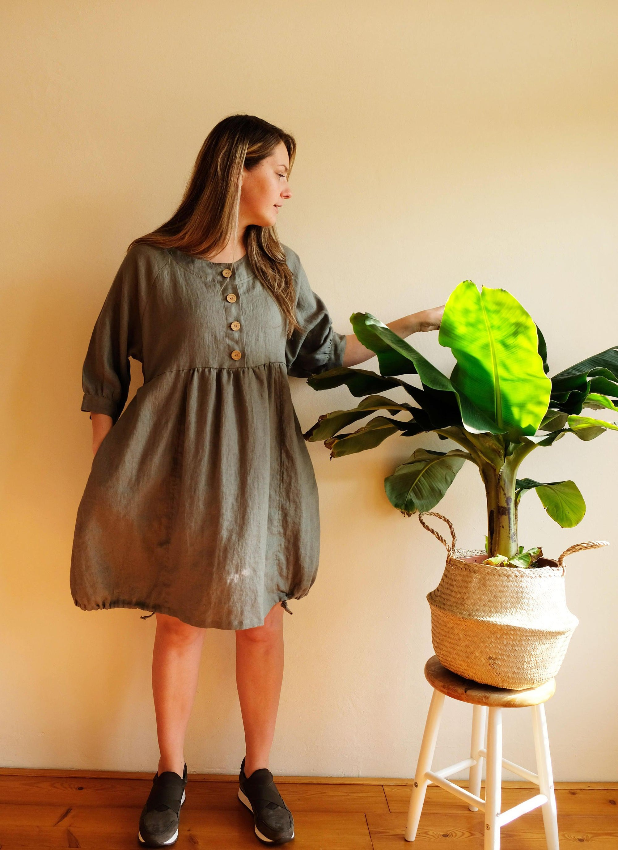 Linen Tunic Dress, Maternity Dress, Loose Tunic Dress, Tunic for women, Plus size tunic, Plus size dress, linen clothing, Breastfeeding