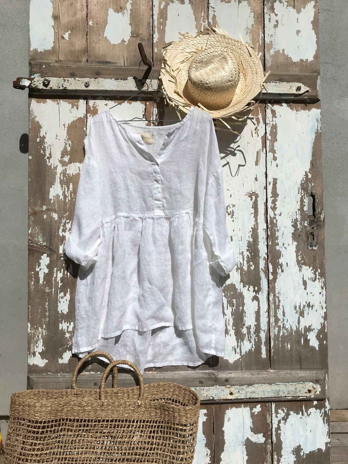 Oversized Crop Top, Oversized Shirt, White Linen Shirt, Plus Size Top, Linen Blouse, Womens Shirt, Loose Plus Size, Cropped Shirt, Boho