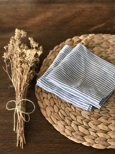 Set of 14 Striped Linen Napkins, linen napkins, cloth dining napkins, grey blue white napkins, eco friendly wedding napkins, striped napkins