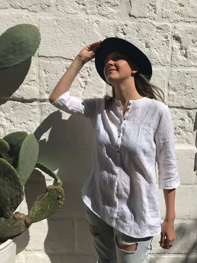 Loose Womens Shirt with Buttons, Linen Shirt, Plus size shirt, Tunic Shirt, Summer shirt, light shirt, boho shirt, Linen Top White Light Top