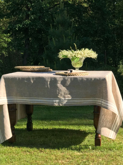 White tablecloth, French country white and beige striped table cloth, wedding tablecloth, rectangle rustic table, country tablecloth
