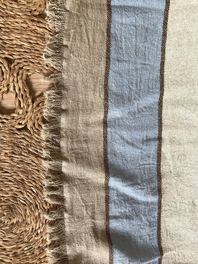 King Size Throw, Striped Linen Bed Cover, Natural Linen Cover, Textured Linen Throw, Linen Blanket, Daybed blanket, Summer Blanket
