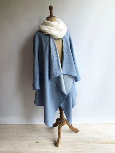 Linen Kimono Jacket, Loose Linen Drape Jacket, Blue Cardigan Linen Coverup, Linen Jacket Womens, Loose Jacket Plus size Plus size clothing