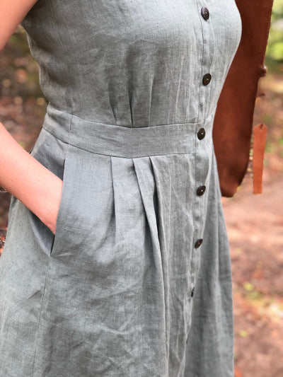 Button up Linen Dress 'Sara' Sleeveless Dress Midi length Dress, Button up dress, Plus size Maxi Linen Dress, Long Womens Dress Linen