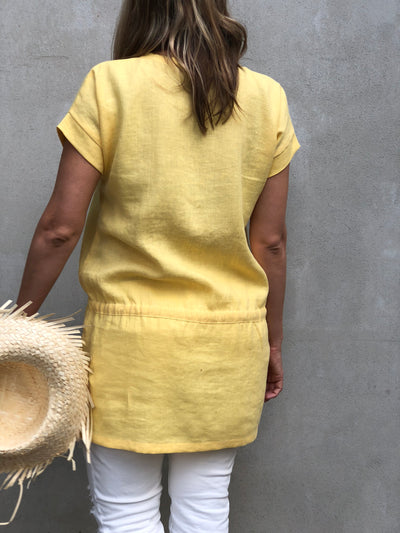 Linen Tunic 'Amelia', Yellow Summer Tunic, Beach Tunic Linen Shirt, Plus size linen Tunics for women Long Shirt, Linen Dress Women Plus Size