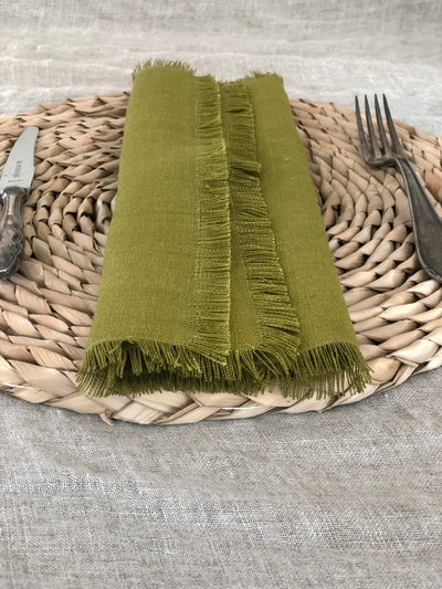 Green Linen Napkins with Frayed Edges, Napkins, Christmas table, Set of Six Natural Cloth Napkins, Cloth Dining Napkins, Frayed Napkins