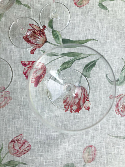 Extra Wide Linen Tablecloth with Tulip Print, Flower Table Cloth, Flower print tablecloth, square linen tablecloth, large linen tablecloth