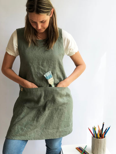Pinafore Apron, Linen Smock, Linen Pinafore Apron Dress, Full Apron, Linen Coverup, Smock Apron, Craft Apron, Christmas Gift, No Ties Apron