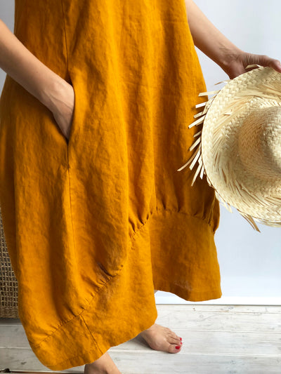"Linen Summer Dress ""Samantha"" Long Sleeveless Dress, Linen Beach Dress, Womens Dress, Plus Size Dress, Loose Linen Dress Women Beach"