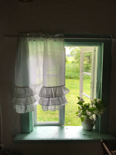 White Linen Curtain with Ruffles, Richly Ruffled Linen Valance, Three layers of Ruffle, Linen Kitchen Curtain, Romantic Linen Curtain Shabby
