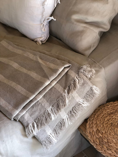 Linen bed throw with fringes,light stripped bed cover, linen bed cover, linen blanket,blanket, summer blanket, decorative throw