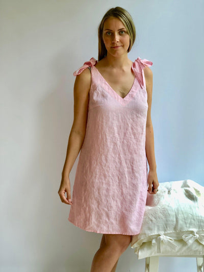 Linen Nightgown, Linen sleepwear, Night Dress, Pink Nightgown, Summer dress, Sleeveless linen dress, gift