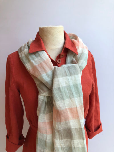 Gauzy Checkered Linen Scarf, Feminine Linen Scarf, Gauze Scarf for Her, Pure Linen Scarf, Women's Scarf, Gift for Mom, Womens Gift for Women