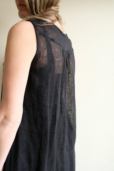 "Black Gauze Linen Dress ""Kate"", Loose Dress Linen, Gauzy Lightweight Coverup Dress, Gauze Dress, Cover Up, Plus Size Tunic Dress Black Women"