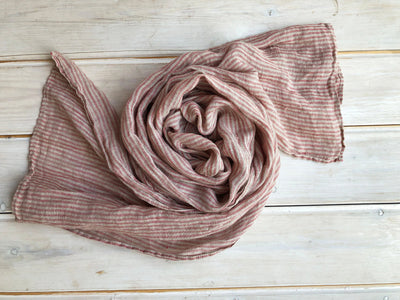 Striped Gauzy Linen Scarf, Soft Grey and Red Striped Linen Scarf, Gauze Scarf for Her, Pure Linen Scarf, Taupe Scarf, Gift for Her Scarf