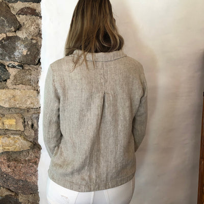 Women Linen Blazer 'Georgia-Rustic' Artist Linen cardigan, Linen Jacket Natural, Womens Linen Jacket Short, Womens Jacket, Plus size Blazer