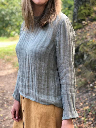 Linen Gauze Top 'Sophia' with Long Sleeves, Linen Blouse, Linen Shirt with Sleeves Plus size shirt Gauzy top Rustic net top long sleeves
