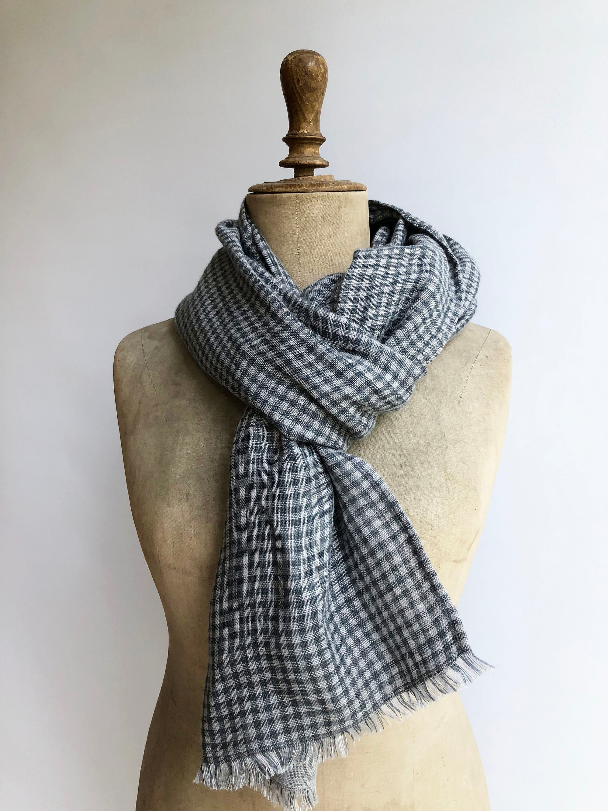 Warm Scarf from Linen, Autumn Scarf, Winter Scarf, Gift for Men, Scarf for Men, Checkered Blue Grey Scarf, Double sided scarf, Grey Scarf