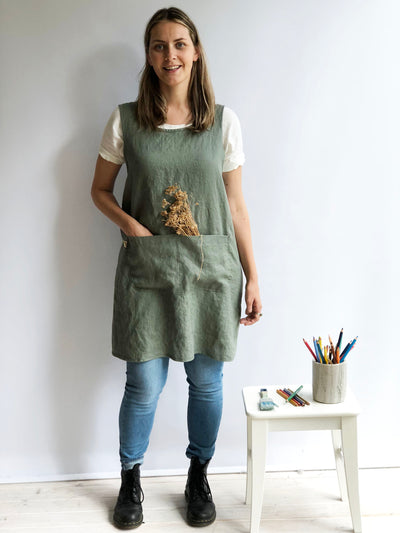 Crafts Apron, Linen Pinafore Apron, Linen Smock Apron, Pinafore Apron Woman, Square-Cross Apron, no-ties apron, Japanese apron, Apron dress